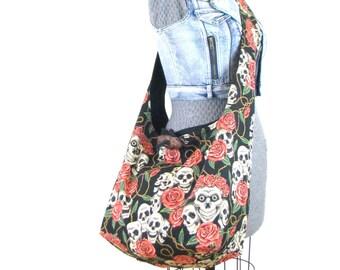 Skull Bag - Large Crossbody Bag for Women - Vegan Bag - Skull Diaper Bag - Skull Tote Bag - Cross Shoulder Bag - Goth Purse for Women