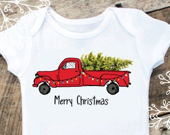 Merry Christmas Boy Onesies®, Christmas Truck, Truck Onesie, Christmas Tree Onesie, Baby Gift, Graphic Onesie, Baby Singlet, Christmas Shirt