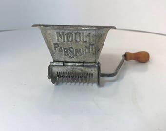 Vintage Mouli Herb Chopper  Food Mill  Vegetable Grinder with wood Handle, Circa 1930s