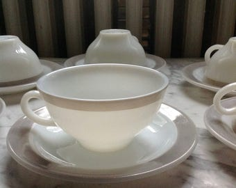Pyrex Dove Gray Teacups and Saucer Set of 6 Made in Canada White Milk Glass with Taupe Grey Border.