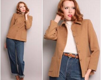 1990's Does 1940's Wool Jacket / Rockabilly Camel C.P.O. Jacket / Small Medium