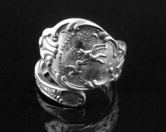 Ornate Minnesota Souvenir Sterling Silver Spoon Ring