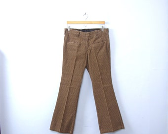 Vintage 70's men's brown velvet bellbottoms, velvet flared pants, size 30