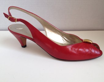 Bruno Magli Shoes Womens Size 7 AAA Narrow Red Slingback Heels 7AAA Vintage Pumps