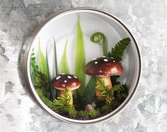 Fairy Garden Magnet, Nature Art, Miniature Garden Magnet, Mini Forest, Mushroom Garden, Fern Garden, Woodland Wall Art, Forest Wall Art