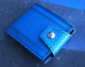 Royal Blue Chevron 60s GMC Wallet Made of Vintage Auto Vinyl Limited Run of 20