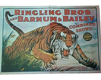 Vintage Poster Circus Ephemera Ringling Bros and Barnum & Bailey Greatest Show on Earth Tiger 60's Reproduction Collectible Paper
