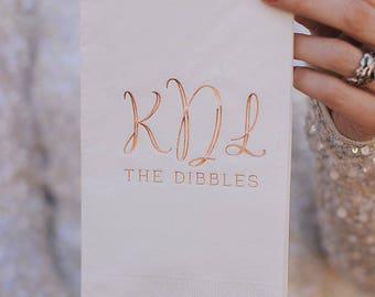 Monogram Foil Wedding Napkins, Wedding Favors, Party Napkins, Engagement Party, Wedding Bar Decor, Party Supplies, Bathroom Guest Towels