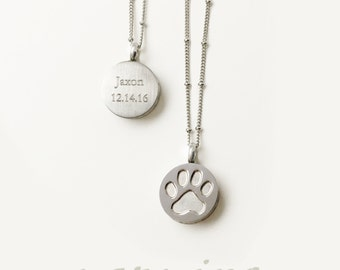 Pet Paw Memorial Necklace Cremation Silver Urn Ash Container Remembrance Jewelry-Sympathy Love Loss Pendant custom engraved your pet's name