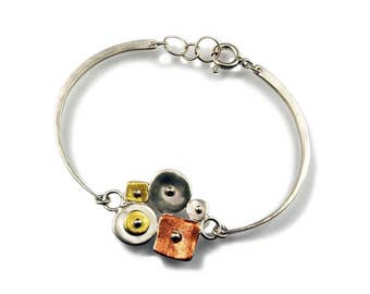 Sterling Collaged Bracelet with Copper and Gold Leaf