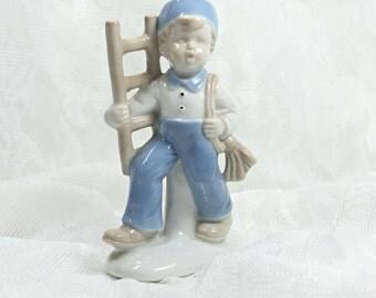 Ceramic Porcelain Boy with Ladder, Children's Figurine, Children's Room Decor