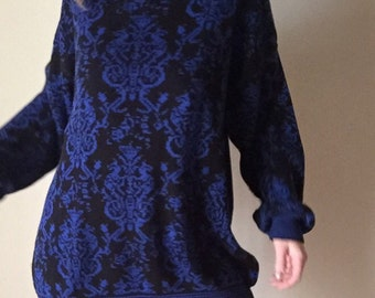 oversized DAMASK cobalt blue and black knit BAROQUE pattern 80s vintage long slouchy unisex jumper sweater womens large L XL