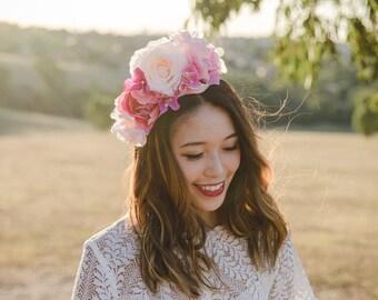 pink statement flower crown fascinator // wedding flower crown, spring racing flower crown, statement floral headpiece headband, engagement