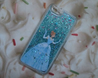 Cinderella Liquid Blue Glitter iPhone Case