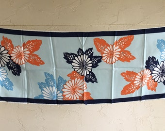Vintage Floral Scarf Blue Orange White Flowers Retro Headwrap Headscarf Rain Accessory artedellamoda talkingfashion