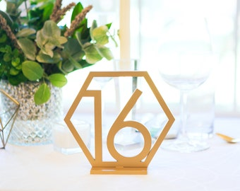 Geometric Table Numbers for Wedding, Gold Laser Cutout Hexagon Table Numbers Wedding Decor, Boho Centerpiece Table Decor (Item - GTN200)