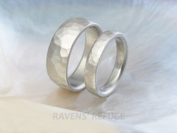 hammered white gold wedding bands -- wedding ring set -- his and hers
