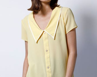 Collared blouse, Short sleeve blouse, Womens blouse, yellow top, Short sleeve shirt, Elegant top, Womens top, summer shirt, big collar