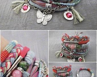 Pink Green Spring Bohemian Bracelet, Gypsy Bracelet Boho Style Jewelry Set, Persian Jade Statement Cuff Bracelet Butterfly Charm