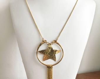 Killer Star Necklace / gold star necklace, hammered necklace, hammered brass necklace, shooting star necklace, comet necklace, fringe tassel