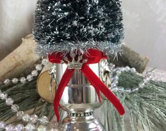"Vintage Bottle Brush Christmas Tree / Traditional Green Christmas / vintage Silver ""cigarette holder"" base"