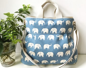 2 way Cross Body Bag /Fall Messenger Bag / Diaper bag / Handbag / Tote / Leather straps / Women messenger / Travel bag-BLUE ELEPHANT