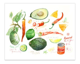Guacamole recipe print, Illustrated recipe, Kitchen poster, Food art, Avocado painting, Wall decor, Kitchen art, Watercolor vegetable print