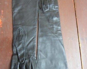 On Sale Vintage kid leather Opera Gloves New Old stock 1960s Dawnelle Silk lined Black