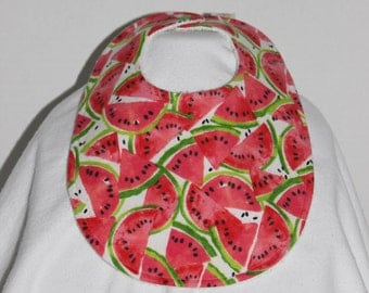 Watermelon Flannel / Terry Cloth Bib