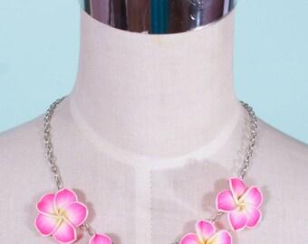 Tiki Bright Pink Frangipani Necklace