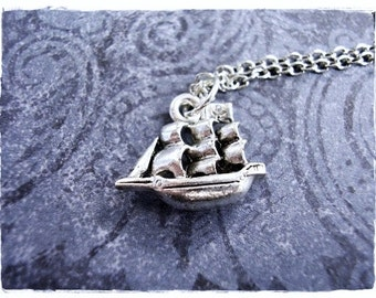 Silver Pirate Ship Necklace - Silver Pewter Pirate Ship Charm on a Delicate Silver Plated Cable Chain or Charm Only