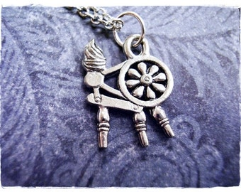 Silver Spinning Wheel Necklace - Antique Pewter Spinning Wheel Charm on a Delicate Silver Plated Cable Chain or Charm Only