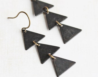 Rustic Black Three Triangle Drop Earrings with Antiqued Brass Hooks