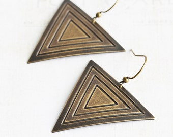Large Antiqued Brass Patterned Triangle Dangle Earrings, Oxidized by Hand