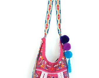 SALE Crossbody Handbag Mexican Embroidered Jody Fucsia