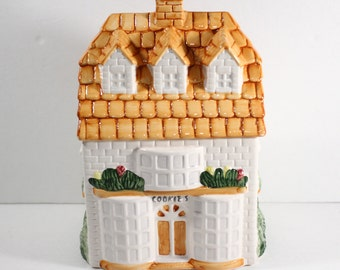 Vintage House Shaped Cookie Jar Trinket Collectible Box Painted Ceramic Cookie Shop White with Brownish Roof