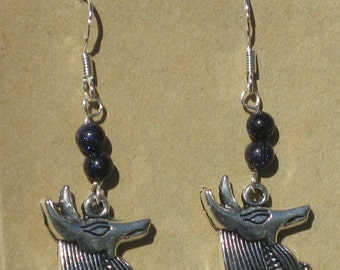 Anubis Earrings with Starstone Beads