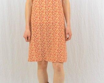 Vintage Floral Slip Dress, Size Medium, 90's Clothing, Orange, Clueless, Tumblr Clothing