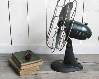 "Working 1940s F.A. Smith Arctic Aire Oscillating Fan ""Industrial Eye Candy"""
