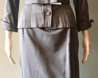 1950s Grey Silk Paula Brooks Suit Size Small