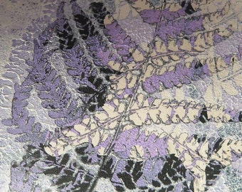 Stef Mitchell original nature mini print ACEO dusky purple black & white ink Ferns inspired by William Morris the Arts and Crafts movement