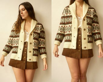 1970's Vintage Oversized Aztec Tapestry Knitted Danish Made Cardigan