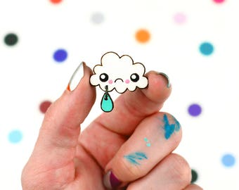sad rain cloud mini pin / hand painted laser cut wood flair lapel badge with rubber back / crybaby crying cute