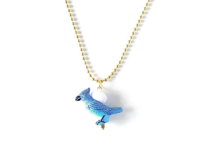 Featured listing image: Animal Necklace for Little Girls, Blue Bird, Charm Necklace, giddyupandgrow