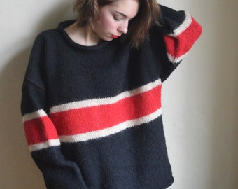 Pure wool handmade sweater from Nepal - Black Red White geometric jumper Pure wool size XL