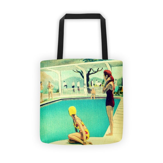 Beach Tote Bags, Mid Century Art Beach Bags, All Over Printed Beach Tote Bags, Mid Century Totes, Mid Century