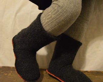 Kid's size 10 (EU 27) COAL BOOTS Felted Wool Soccasins with Leather Soles