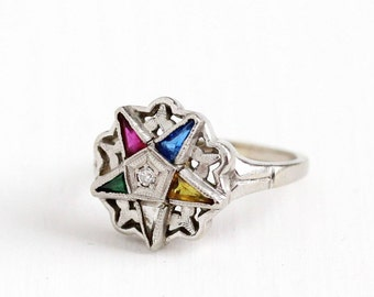 Sale - Vintage 10k White Gold Order of the Eastern Star Diamond Ring - Size 7 Masonic OES Created Colorful Gems House of Kraus Fine Jewelry