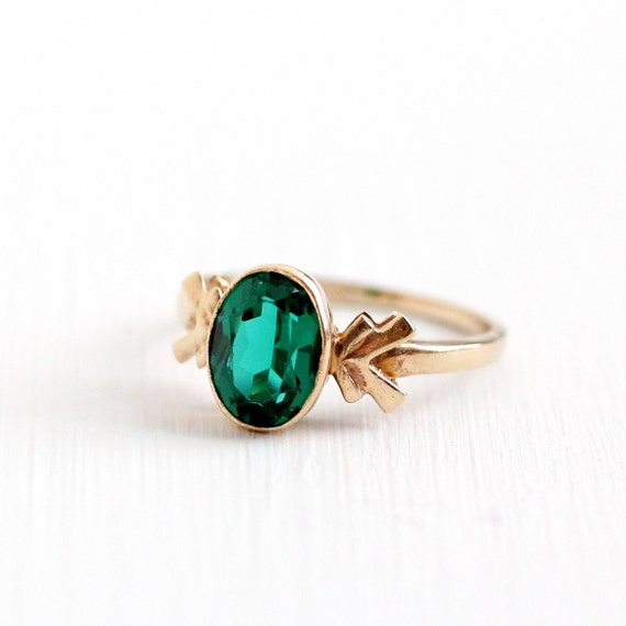 sale vintage 10k yellow gold simulated emerald ring size 4