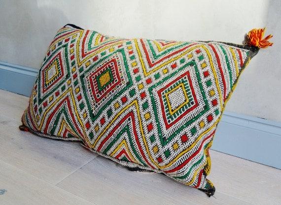 Vintage Moroccan Multi Colour Pattern Kilim Berber Carpet Cushions-lumbar, vintage cushions, christmas gifts, gifts No2